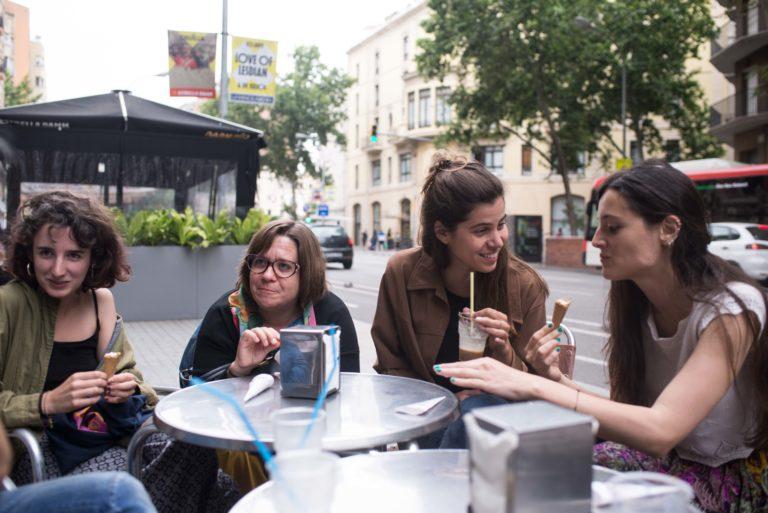 Alba Villarmea, Alba Mondejar, Marga Almirall i Diana Mizrahi durant la 27a Mostra Internacional de Films de Dones de Barcelona