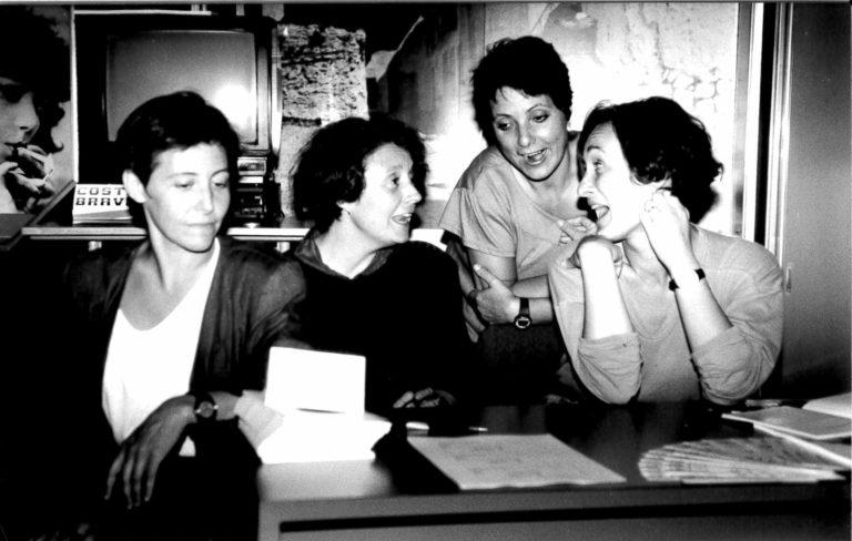 Anna Solà, Marta Selva, Araceli Rilova i Raquel Aranda durant la 3a Mostra Internacional de Films de Dones de Barcelona (1995)