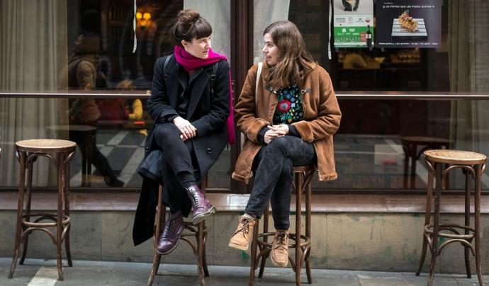 Marga Almirall i Marta Nieto durant una entrevista al festival Punto de Vista (2018)